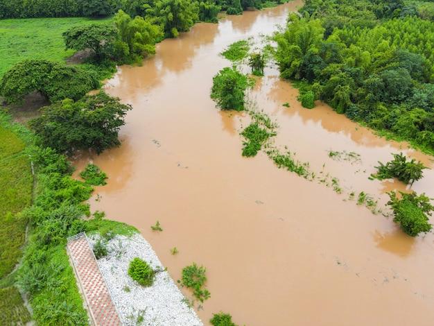 Vue aérienne de la forêt inondée de la rivière nature forêt arbre vert, vue de dessus étang de lagune de la rivière avec inondation d'eau d'en haut, vue à vol d'oiseau paysage jungles lac qui coule de l'eau sauvage après la pluie