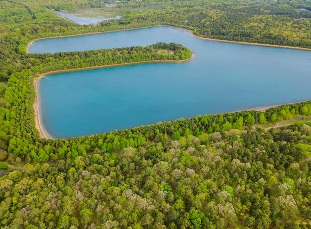 Vue aérienne des forêts vertes sur une journée d'été ensoleillée dans les lacs bleus silencieux