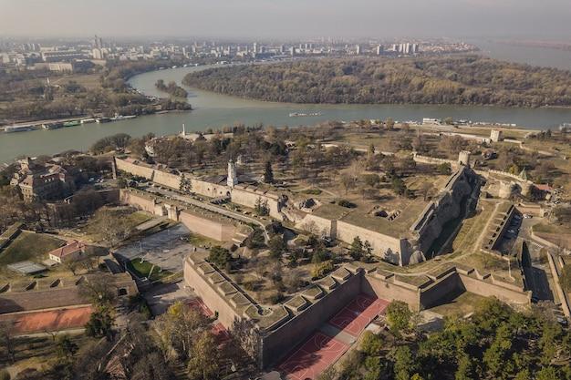 Vue aérienne de la forteresse de kalemegdan à belgrade