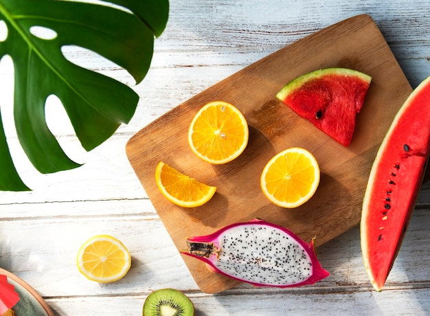 Vue aérienne de fruits tropicaux