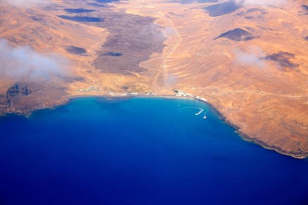 Vue aérienne de fuerteventura aux îles canaries