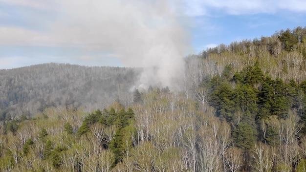 Vue aérienne de la fumée d'un incendie de forêt.