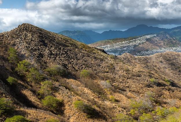 Vue aérienne, de, hawaii, depuis, tête diamant