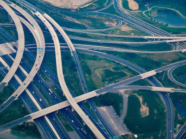 Vue aérienne où la i-295 rencontre la i-495 - le washington beltway