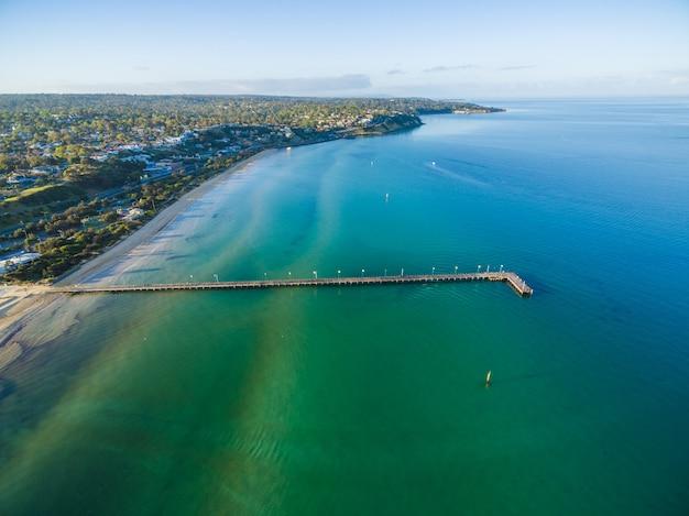 Vue aérienne de la jetée de frankston, melbourne, australie
