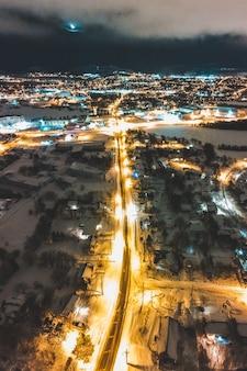 Vue aérienne des lumières de la ville