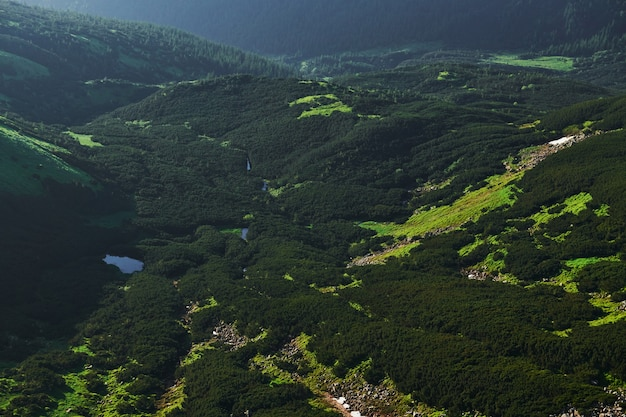 Vue aérienne. majestueuses montagnes des carpates. beau paysage.