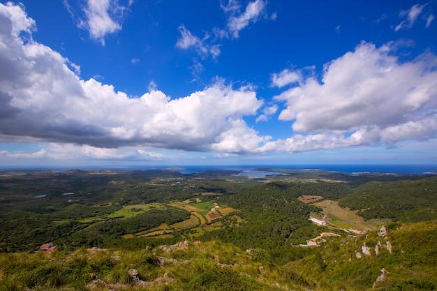 Vue aérienne de minorque nord depuis pico del toro
