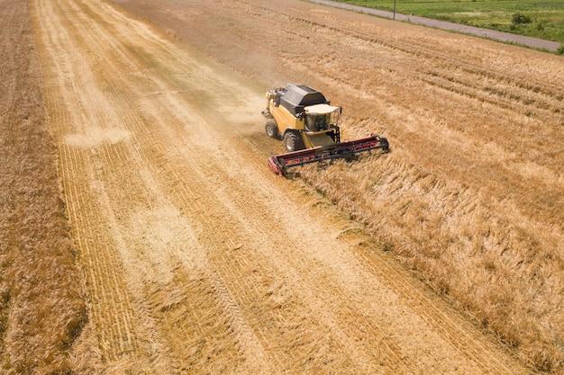 Vue aérienne de la moissonneuse-batteuse récoltant un grand champ de blé mûr. agriculture vue par drone.