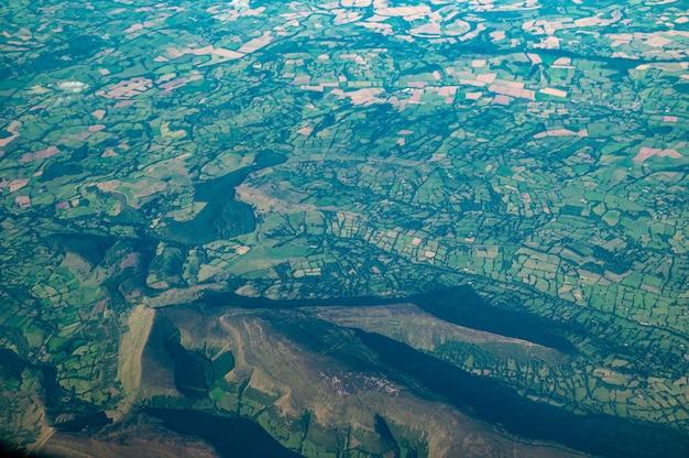 Vue aérienne des montagnes noires, pays de galles