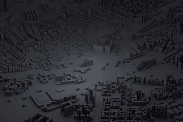 Vue aérienne noire des bâtiments de la ville rendu 3d fond de carte noire