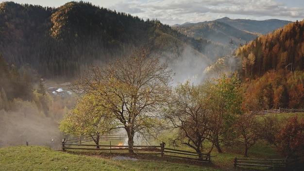 Vue aérienne de nuages de brume sur les champs du village de montagne forêt de la vallée de l'herbe dans les chalets dans le brouillard enfumé