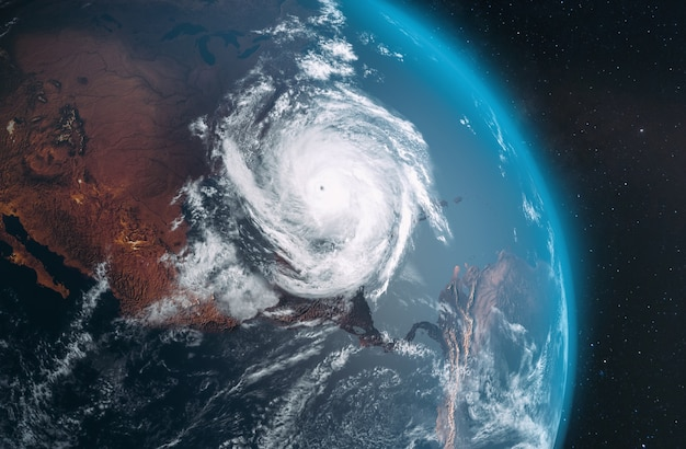 Vue aérienne de l'ouragan laura depuis le dessus de la terre; 3d; illustration 3d
