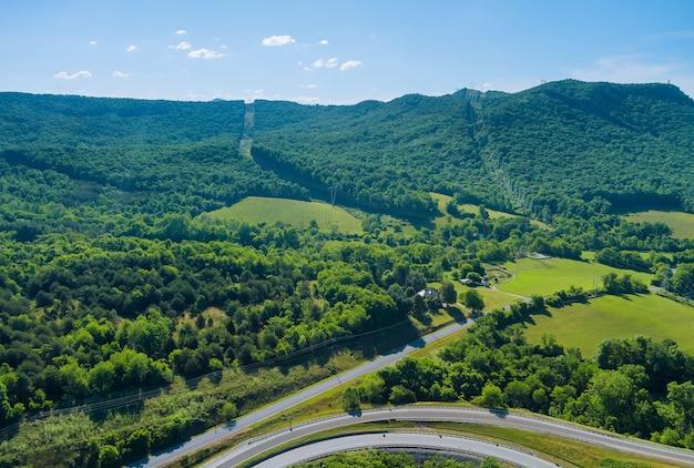 Vue aérienne panoramique de la forêt d'arbres verts d'été de la route de jonction d'autoroute dans la ville de daleville