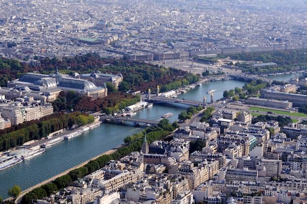Vue aérienne de paris avec seine