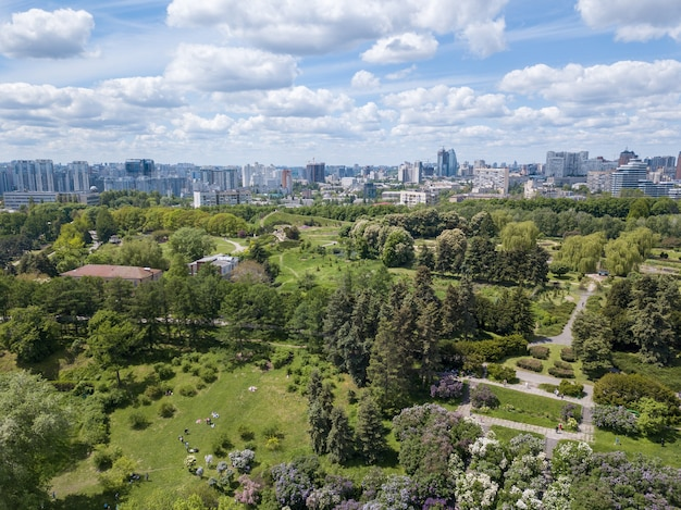 Vue aérienne de personnes au beau jardin botanique vert en été, bâtiments de la ville à l'horizon