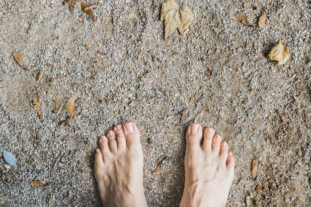 Une vue aérienne de pieds nus sur la surface de la pierre dans la forêt