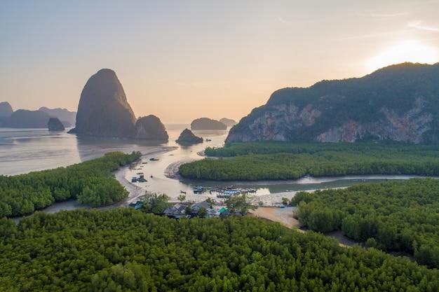 Vue aérienne, plage, de, thaïlande