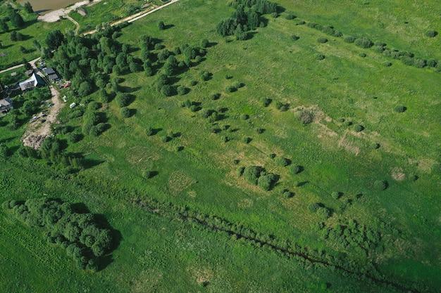Vue aérienne des plaines et des champs