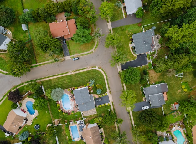 Vue aérienne de quartiers résidentiels à beau paysage urbain de la ville nj, usa