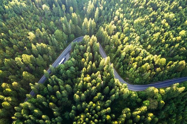 Vue aérienne de la route sinueuse dans le col de haute montagne à travers les forêts de pins verts denses.