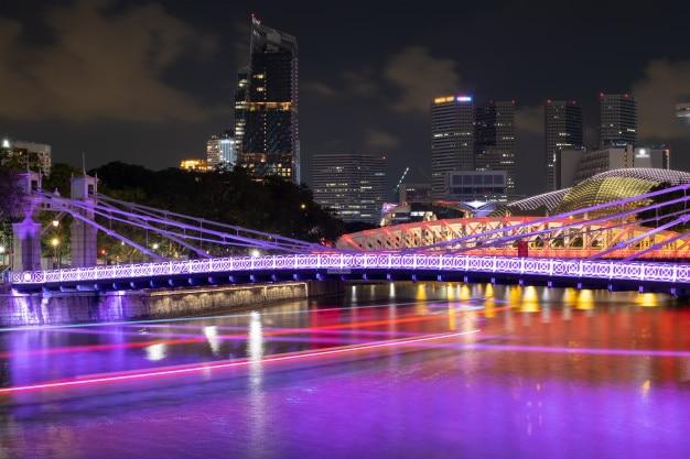 Vue aérienne, de, singapour, ville nuit
