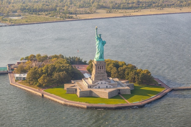 Vue aérienne, de, statue liberté, new york
