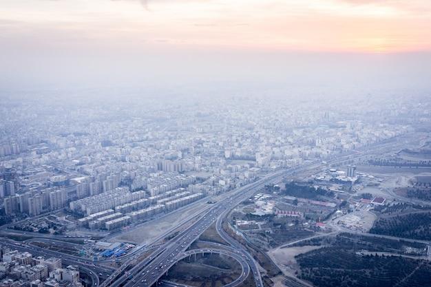 Vue aérienne de téhéran en iran
