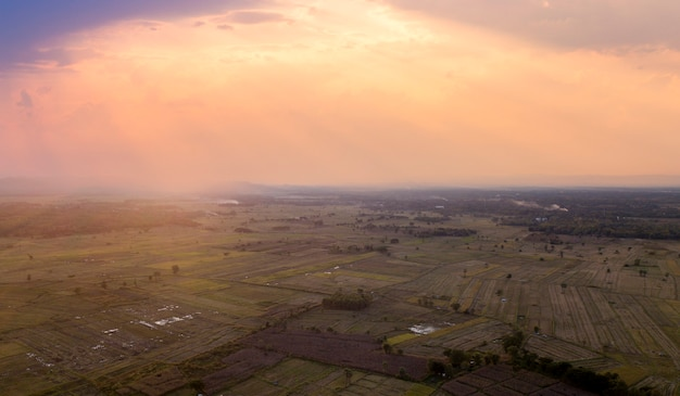 Vue aérienne de la terrasse de riz. image d'une belle rizière en terrasse. vue de dessus