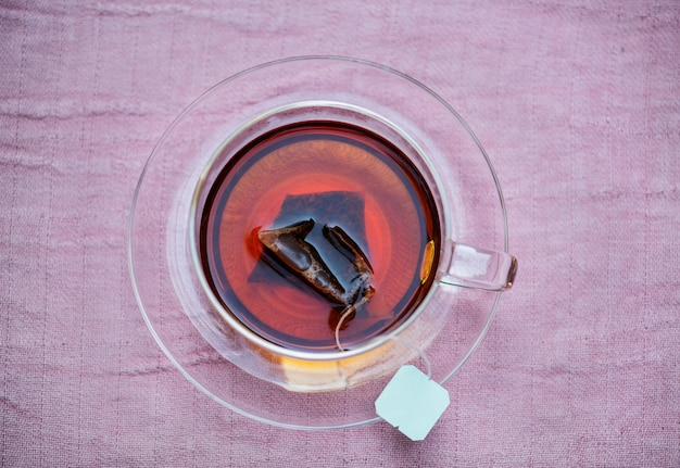 Vue aérienne de thé chaud
