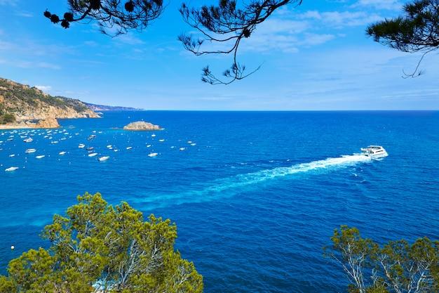 Vue aérienne de tossa de mar sur la costa brava de gérone