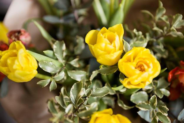 Une vue aérienne de tulipes jaunes fraîches dans le bouquet