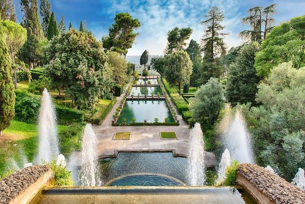 Vue aérienne de villa d'este, tivoli, italie
