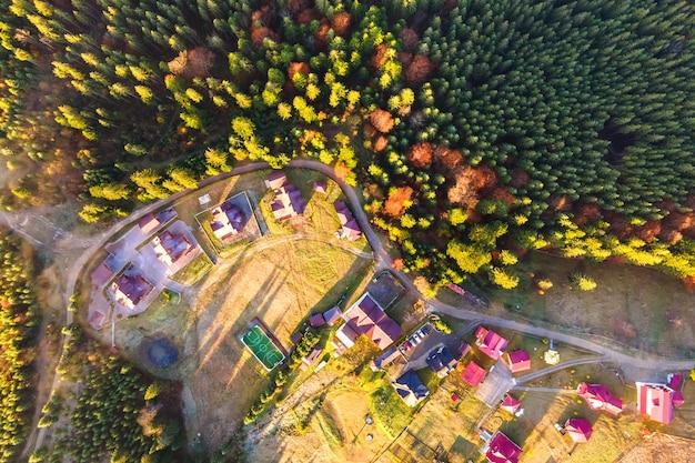 Vue aérienne d'un village maisons près d'une dense forêt de pins verts