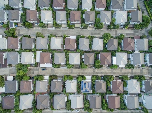 Vue aérienne, de, village natal, dans, bangkok, thaïlande