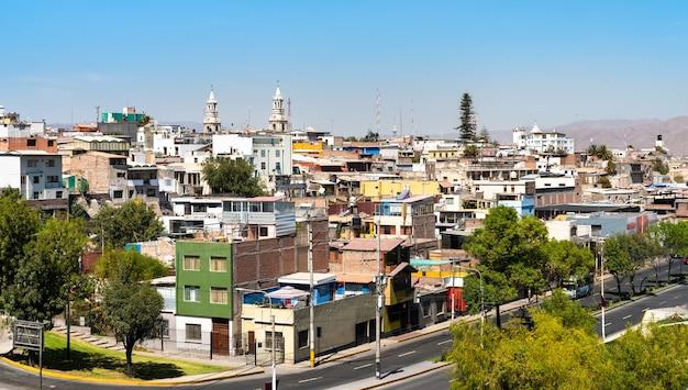 Vue aérienne de la ville d'arequipa au pérou