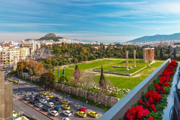 Vue aérienne de la ville à athènes, grèce