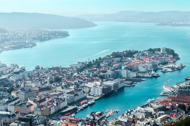 Vue aérienne de la ville de bergen