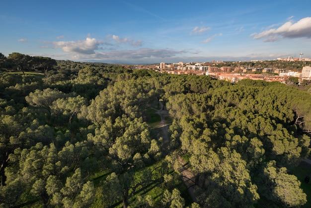 Vue aérienne de la ville de madrid depuis la casa de campo.