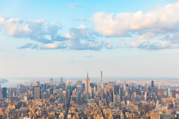 Vue aérienne de la ville de new york et de manhattan