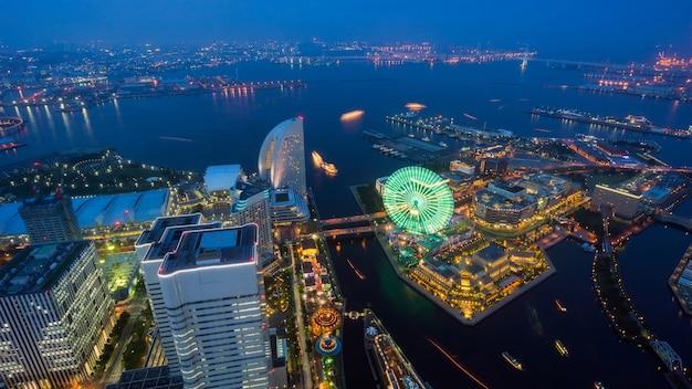 Vue aérienne de la ville de yokohama