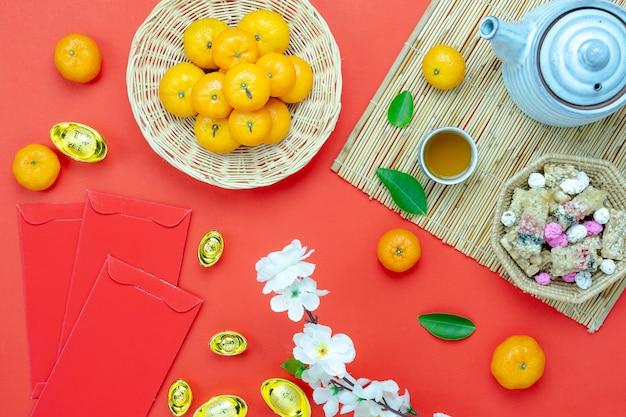 Vue aérienne vue de dessus coup d'arrangement de décoration nouvel an chinois.