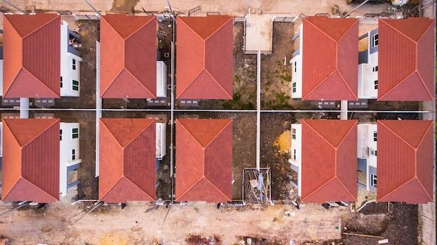 Vue aérienne vue de dessus du lotissement, tir de drone