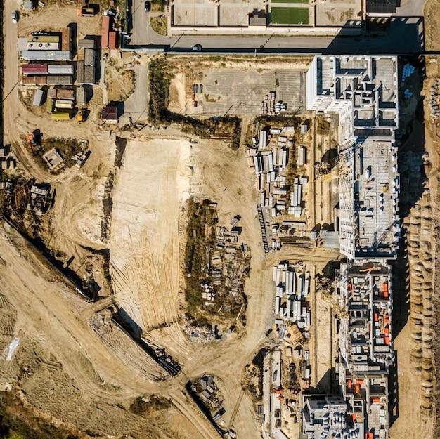 Vue aérienne vue de dessus du projet de construction à plat concept laïc f