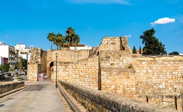 Vue de l'alcazaba de merida en espagne