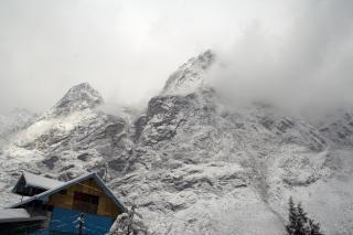Vue sur les alpes, la neige