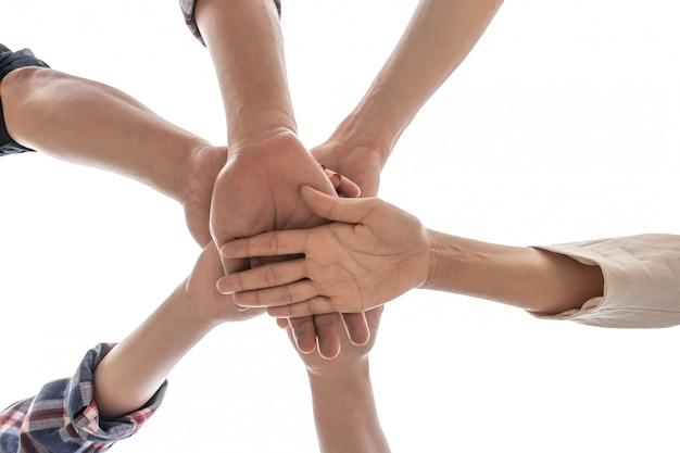 En vue, amitié, partenariat, travail d'équipe, empiler, main, fond blanc, teamwo