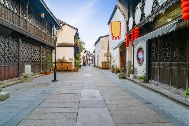 Vue de l'ancienne rue qinghefang dans la ville de hangzhou, province du zhejiang, chine