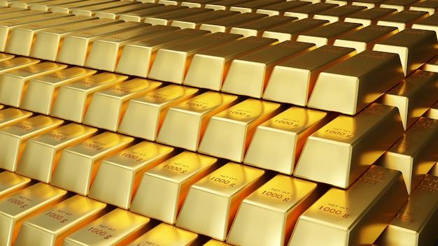 Vue d'animation 3d en gros plan de lingots d'or fins.