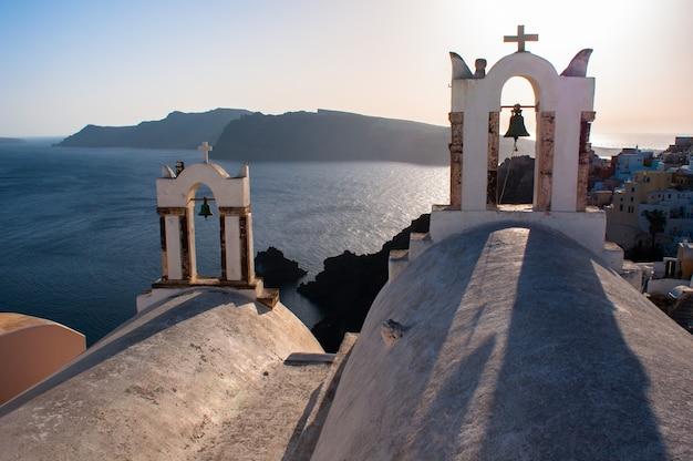 Vue de l'archipel grec de santorin de jour.